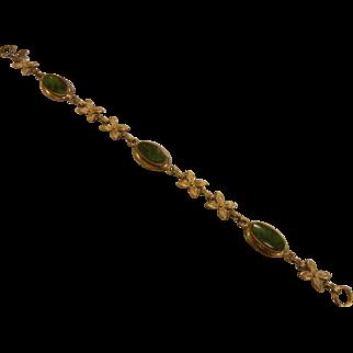 Vintage Gold Filled Bracelet w/ Green Jade Links