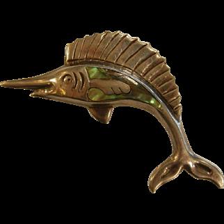 Vintage TAXCO Abalone & Sterling Silver Swordfish Brooch