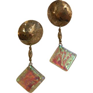 Unique Sterling Silver Earrings w/ Iridescent Art Glass