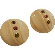 Fine Button-Style 14K Gold Clip Earrings w/ Gemstones