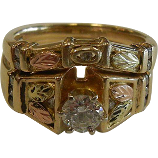 Fine 14K .75 CT Diamond Engagement/Wedding Ring Set - Size: 7-1/2