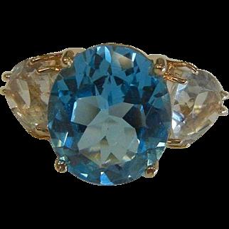 Fine 14K Blue & White Topaz Ring - Size: 8