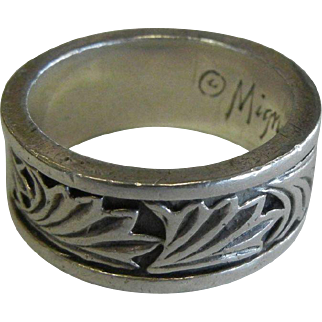 1989 Mignon Faget Sterling Silver Acanthus Ring - Size: 12.5