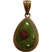 Vintage Sterling Silver Pendant w/ Natural Zoisite