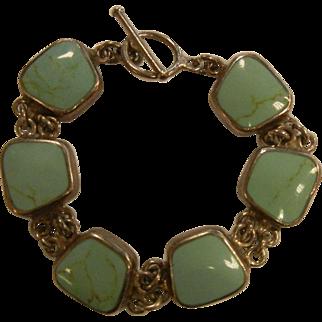 Vintage Mexico Sterling Silver Turquoise Link Bracelet
