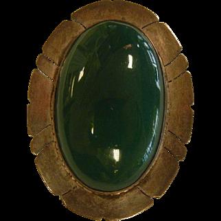 Vintage Sterling Silver Brooch w/ Green Onyx Cabochon