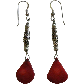 Fine Sterling Silver & Red Coral Earrings