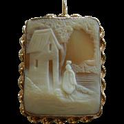 Vintage Gold Filled Hand Carved Cameo Pendant