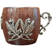 Vintage Coconut Carved Cup w/ Sterling Silver Emblems