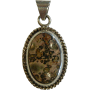 Vintage Sterling Silver & Natural Leopard Jasper Pendant