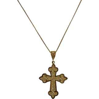 Fine 14K Gold Cross Pendant Necklace