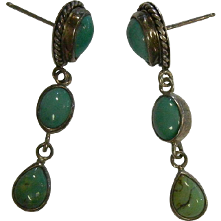 Vintage Sterling Silver & Natural Turquoise Three-Tier Drop Earrings