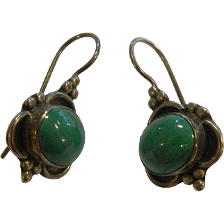 Vintage Sterling Silver Earrings w/ Natural Malachite