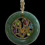 Fine 14K Jade Pendant w/ Gemstones