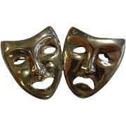 Fine Sterling Silver Comedy/Tragedy Masks Brooch