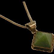 Unique Sterling Silver Natural Aventurine Pyramid Pendant Necklace