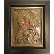 Old Sterling Silver Relief Religious Icon
