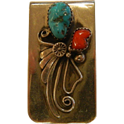Vintage Southwestern Sterling Silver Turquoise & Coral Money Clip