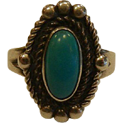 Fine Sterling Silver Turquoise Ring - Size: 6