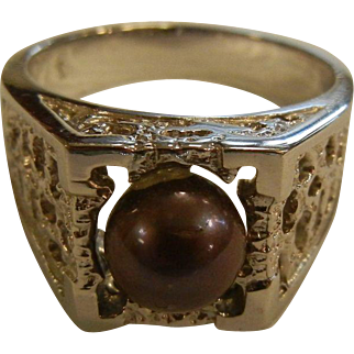 Fine Rhodium Plated Dark Pearl Ring - Size: 11.5