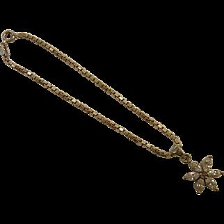 Fine Italian Sterling Silver Bracelet w/ Rhinestone Flower Charm