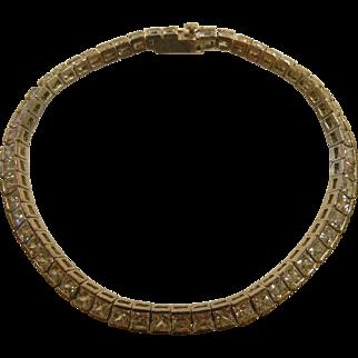 Fine Sterling Silver Rhinestone Tennis Bracelet