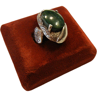 Unique Handcrafted Abstract Sterling Silver Ring w/ Natural Malachite Cabochon