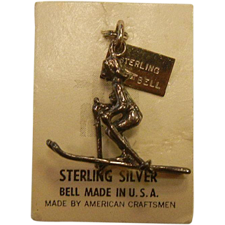 Fine Bell Sterling Silver Charm - Female Skier