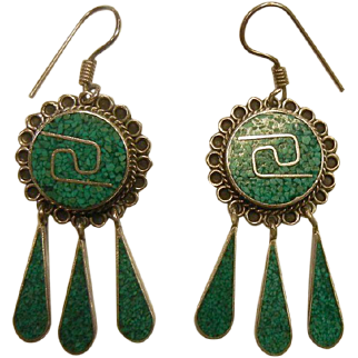 Vintage Mexico Sterling Silver Earrings w/ Inlaid Natural Stones