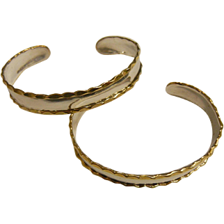Pair of Fine Sterling Silver Cuff Bracelets w/ Gold Plated Accents
