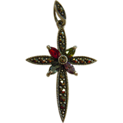 Fine Sterling Silver .925 Cross Pendent w/ Marcasite & Red, Green, Blue, Purple Rhinestones
