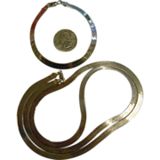 Fine Herringbone Style Italian Sterling Silver Long Necklace & Bracelet
