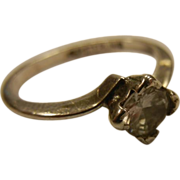 Vintage Sterling Silver Ring w/ Solitary Square-Cut CZ