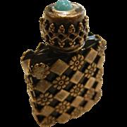 Vintage Pocket Perfume Bottle w/ Silver Casing