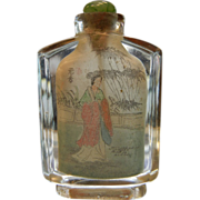 OLD Chinese Intaglio Hand Painted Glass Snuff Bottle w/ Green Glass Topped Cork