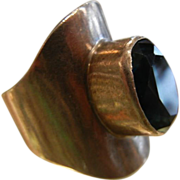 Modernist Designer Sterling Silver Ring w/ London Blue Topaz