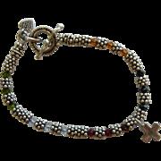Fine Sterling Silver & Multi-Color Crystal Bead Bracelet w/ Heart & Cross Charm