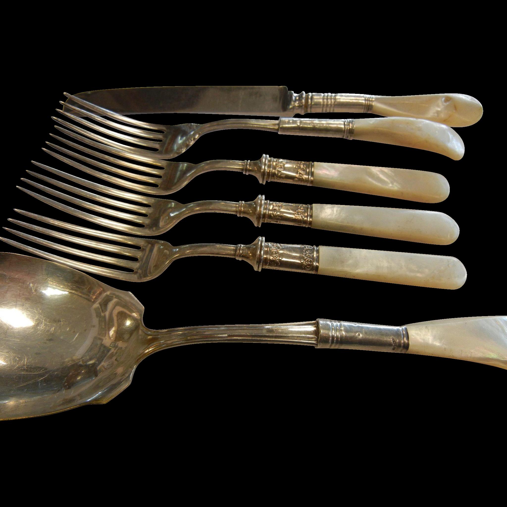 Vintage stering silverware set w mother of pearl handles from henriettas on ruby lane - Pearl handled flatware ...