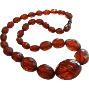 Vintage Faceted Natural Amber Graduated Bead Necklace