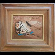 Southwestern-Style Multimedia Artwork Sculpted Leather & Turquoise Signed Kull