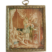 Antique Miniature Framed French Boudoir Scene Hand Painted Picture