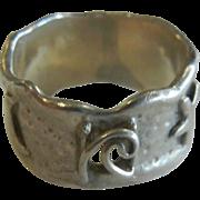 Fine Sterling Silver Ring w/ Moon & Star