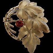 Fine CR Co. Sterling Silver Brooch w/ Red Rhinestone
