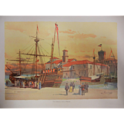 "Rare Antique Chromolithograph The World's Fair in Watercolors - ""The Caravels and La Rabida"" by C. Graham"