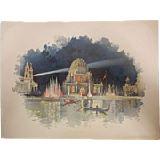 "Rare Chromolithograph The World's Fair in Watercolors - ""At Night In The Grand Court"" by C. Graham"