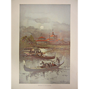 """Fine Chromolithograph The World's Fair in Watercolors - """"Moonlight On The Lagoons"""" by C. Graham"""