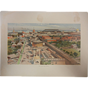 "Fine Chromolithograph The World's Fair in Watercolors - ""View From Ferris Wheel"" by C. Graham"