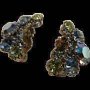 Vintage Iridescent Blue & Green Rhinestone Clip Earrings