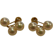 Vintage 14K Gold & Cultured Pearl Screw Back Earrings