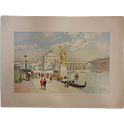"Rare Antique Chromolithograph The World's Fair in Watercolors - ""Looking East in the Grant Court"" by C. Graham"